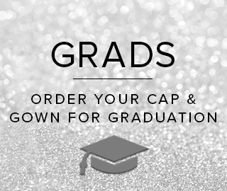 Picture of graduation cap. Grads, click to order your Cap & Gown for graduation.