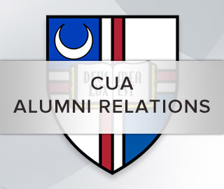 Background picture of a shield and book. CUA Alumni Relations. Click for more info.